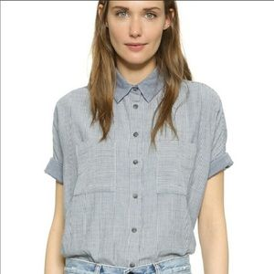 Madewell Courior Shirt in lilydale Stripe large